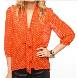 {Anthropologie} Bow Print Pins and Needles Blouse